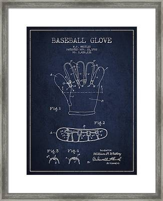 Baseball Glove Patent Drawing From 1922 Framed Print