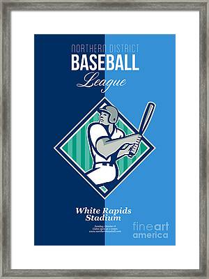Baseball Hitter Batting Diamond Retro Framed Print by Aloysius Patrimonio