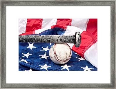 Baseball On American Flag Framed Print by Joe Belanger