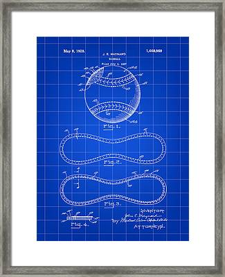 Baseball Patent 1927 - Blue Framed Print