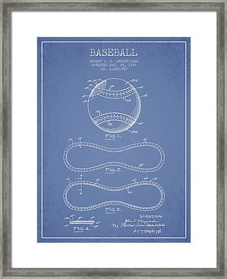 Baseball Patent Drawing From 1928 Framed Print by Aged Pixel