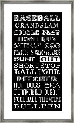 Baseball Subway Art Framed Print by Jaime Friedman