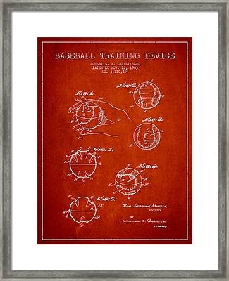 Baseball Training Device Patent Drawing From 1963 Framed Print by Aged Pixel