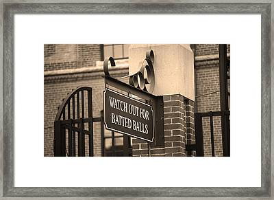 Baseball Warning Framed Print by Frank Romeo