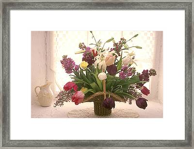 Basket Of Flowers In Window Framed Print by Garry Gay
