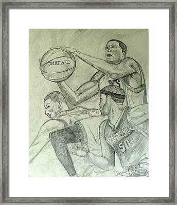 Basketball Player 2 Framed Print by Darlene Ricks- Parker