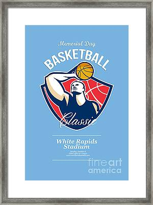 Basketball Player Rebounding Ball Retro Framed Print by Aloysius Patrimonio
