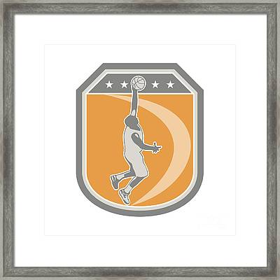 Basketball Player Rebounding Ball Shield Retro Framed Print