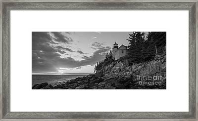 Bass Harbor Head Light Sunset  Framed Print by Michael Ver Sprill