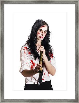 Battered Business Girl Preparing For The Worst  Framed Print