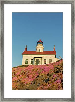Battery Point Lighthouse In Crescent Framed Print by Chuck Haney