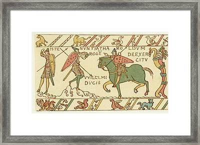 Battle Of Hastings A Sentinel Tells Framed Print by Mary Evans Picture Library