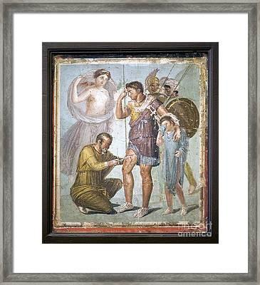 Battle Wounds Of Aeneas, Roman Fresco Framed Print