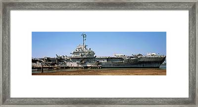 Battleship At A Museum, Patriots Point Framed Print by Panoramic Images