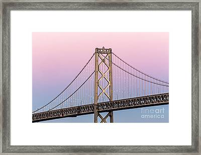 Bay Bridge Lights At Sunset Framed Print