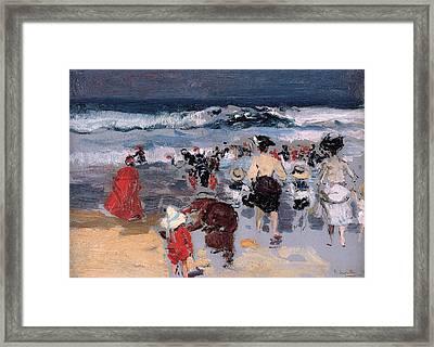 Beach At Biarritz Framed Print by Joaquin Sorolla y Bastida