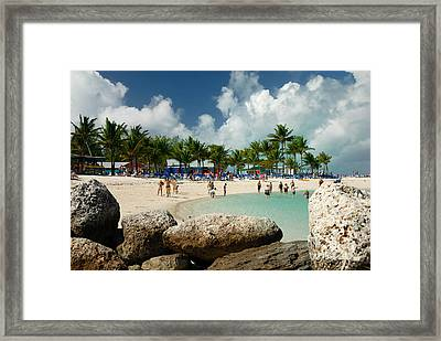 Beach At Coco Cay Framed Print