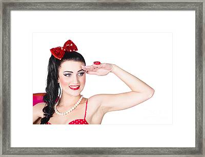 Beach Babe In Retro Fashion Swimsuit Accessories Framed Print by Jorgo Photography - Wall Art Gallery
