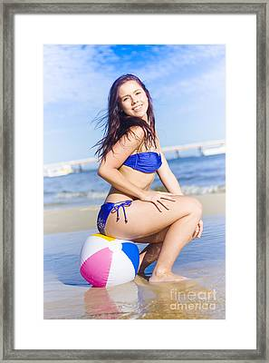 Beach Ball Bikini Babe Framed Print by Jorgo Photography - Wall Art Gallery