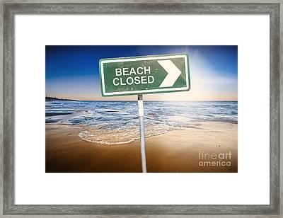Beach Closed Sign On Australian Landscape Framed Print