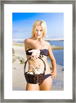 Beach Flirt Framed Print