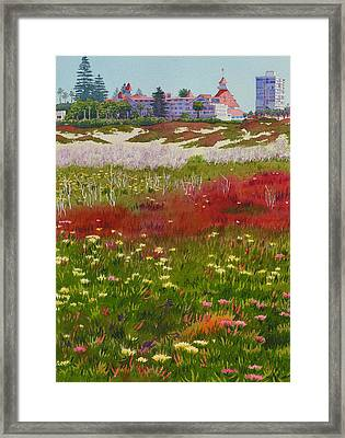 Beach Flowers At The Del Framed Print by Mary Helmreich