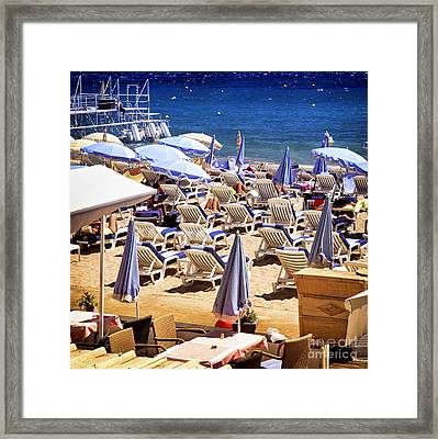 Beach In Cannes Framed Print