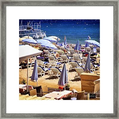 Beach In Cannes Framed Print by Elena Elisseeva