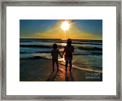Beach Kids Framed Print by Margie Chapman