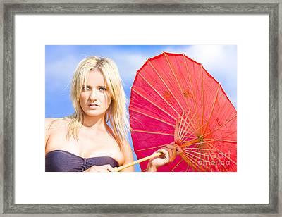 Beach Umbrella Framed Print by Jorgo Photography - Wall Art Gallery