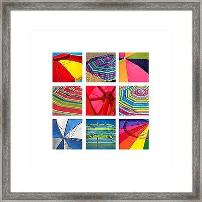 Beach Umbrellas Framed Print by Art Block Collections