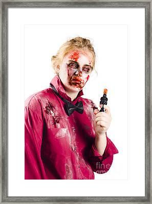 Beaten Woman Holding Handgun Framed Print by Jorgo Photography - Wall Art Gallery