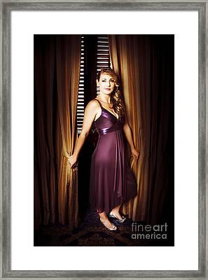 Beautiful Actress Posing At Premiere Framed Print
