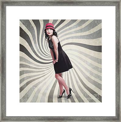 Beautiful Asian Woman Posing. Vintage Style Framed Print