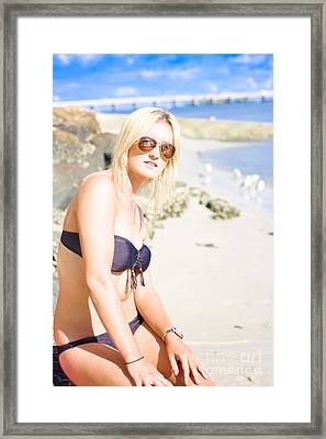 Beautiful Beach Lady Enjoying Summer Vacation Framed Print
