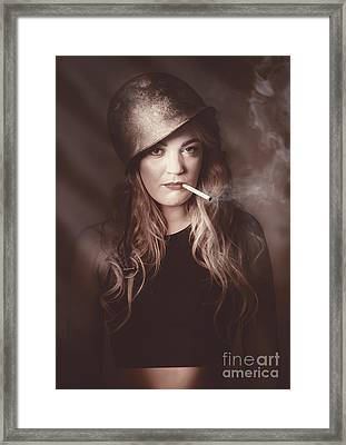 Beautiful Blond Army Pinup Girl Smoking Cigarette Framed Print by Jorgo Photography - Wall Art Gallery