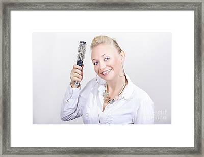 Beautiful Blond Hairdresser In Salon Studio Framed Print by Jorgo Photography - Wall Art Gallery