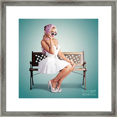 Beautiful Blond Woman In Retro American Fashion Framed Print