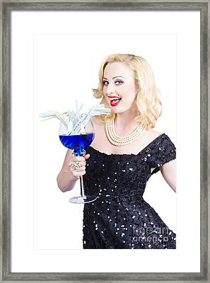 Beautiful Blonde Enjoying A Classy Cocktail Event Framed Print by Jorgo Photography - Wall Art Gallery