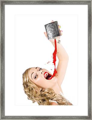 Beautiful Blonde Make-up Artist Woman Pouring Liquid Lipstick Framed Print by Jorgo Photography - Wall Art Gallery