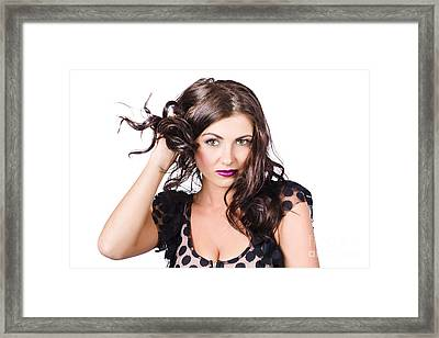 Beautiful Brunette Woman. Model Hair Style Framed Print by Jorgo Photography - Wall Art Gallery