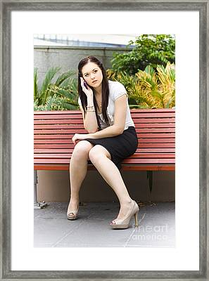 Beautiful Business Woman On Cell Or Mobile Phone Framed Print