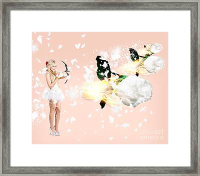 Beautiful Cupid Woman Firing Romance Arrows Framed Print by Jorgo Photography - Wall Art Gallery