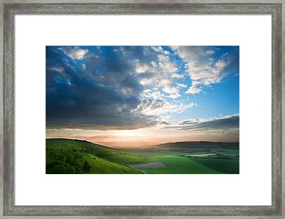 Beautiful English Countryside Landscape Over Rolling Hills Framed Print