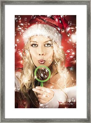 Beautiful Female Santa Making Christmas Wish Framed Print by Jorgo Photography - Wall Art Gallery