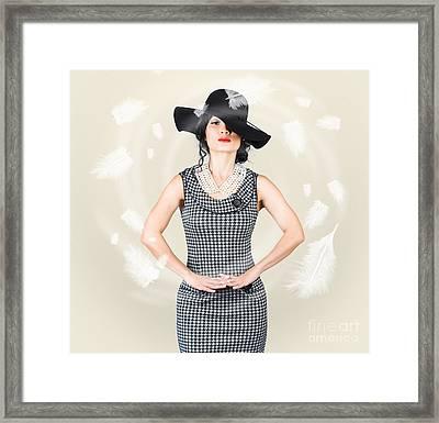 Beautiful Girl Enjoying Summer In Sun Hat Framed Print by Jorgo Photography - Wall Art Gallery