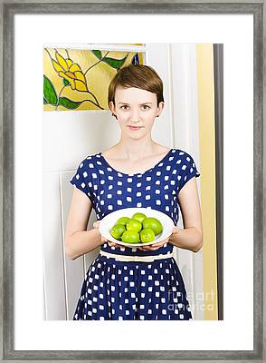 Beautiful Girl Holding Bowl Of Green Limes Framed Print by Jorgo Photography - Wall Art Gallery
