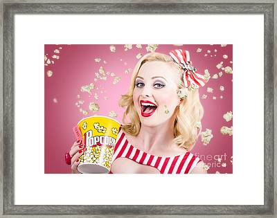 Beautiful Girl Watching Premier At Movie Theater Framed Print