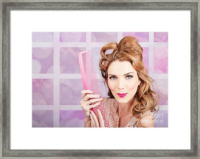 Beautiful Hairstyle Model With Beauty Hair Comb Framed Print