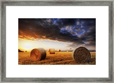 Beautiful Hay Bales Sunset Landscape Digital Painting Framed Print